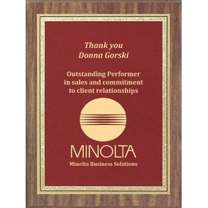 "Economy Walnut Finish Plaque Series with Burgundy/Brass Florentine Acrylic Plate, 6""x8"""